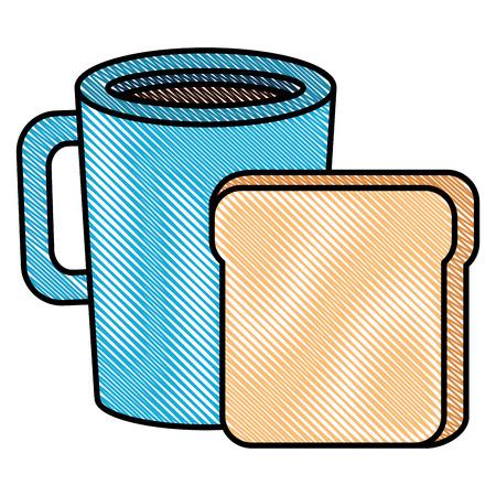 토스트 빵 벡터 일러스트 디자인 커피 컵 음료