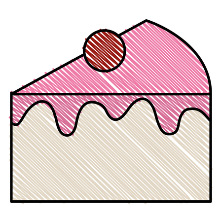 Sweet cake portion icon vector illustration design Illustration