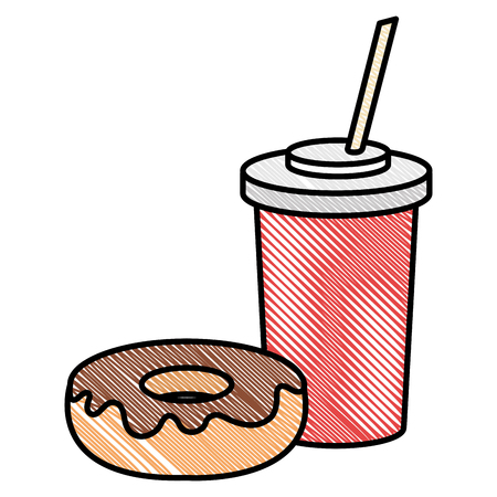 delicious sweet donut with beverage vector illustration design 写真素材 - 94249712