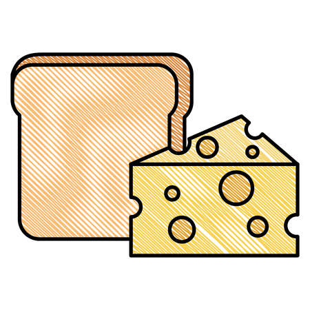 Broodtoost met ontwerp van de kaas het vectorillustratie