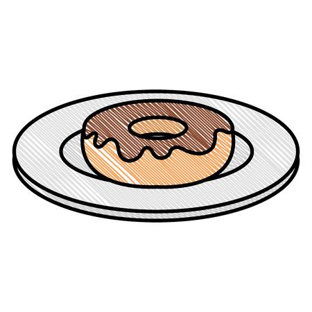 甘いドーナツアイコンベクトルイラストデザインの料理