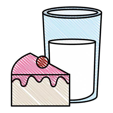 Sweet cake portion with milk glass vector illustration design.