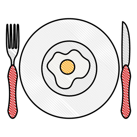 dish and cutlery with egg fried vector illustration design Illustration