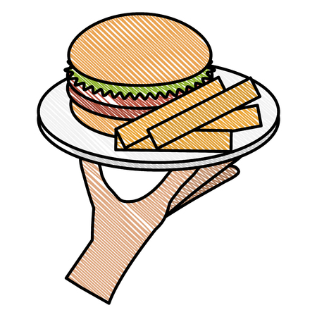 hand with french fries and burger vector illustration design