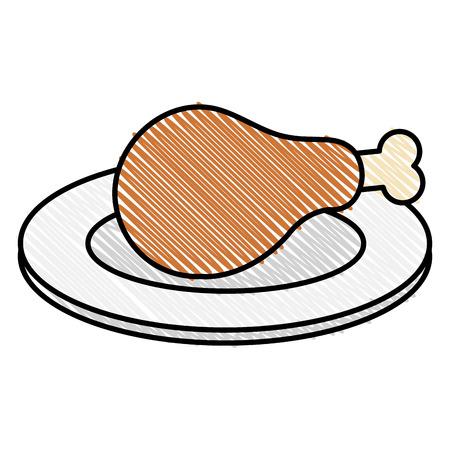 Dish with thigh chicken meat icon vector illustration design. Ilustração