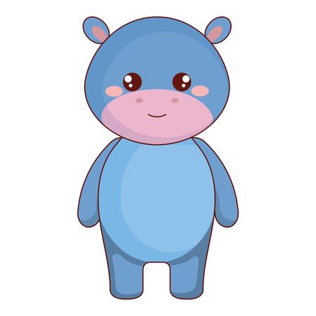 cute and tender hippopotamus character vector illustration design