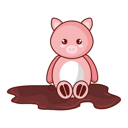 cute and tender pig in the swamp character vector illustration design