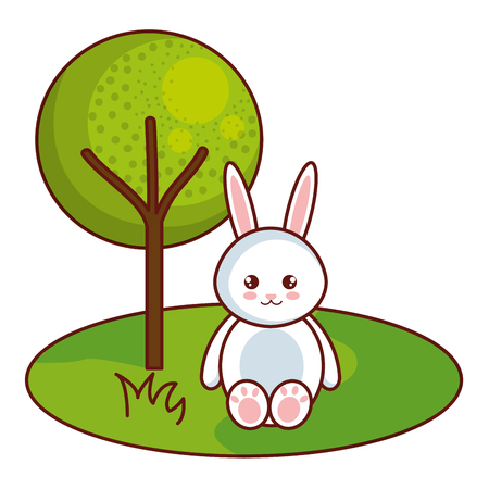 Cute and tender rabbit in the park character vector illustration design.
