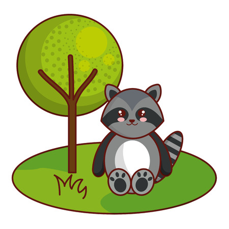 Cute and tender raccoon in the camp character vector illustration design.