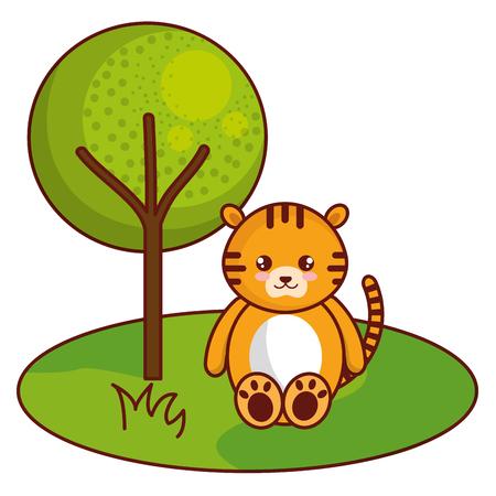Cute and tender tiger in the jungle character vector illustration design. Foto de archivo - 94401359