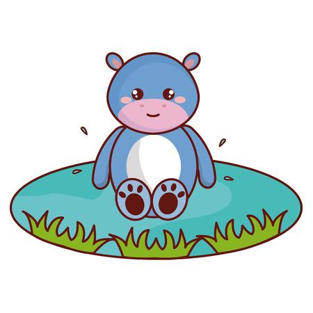 Cute and tender hippopotamus in the lake character vector illustration design.