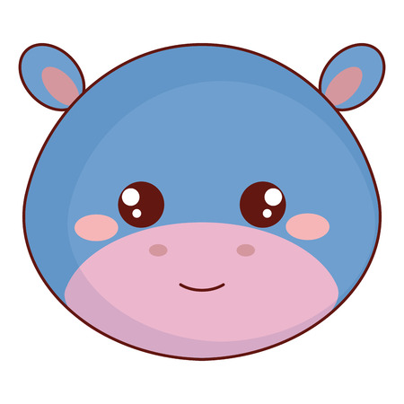 cute and tender hippopotamus head character vector illustration design