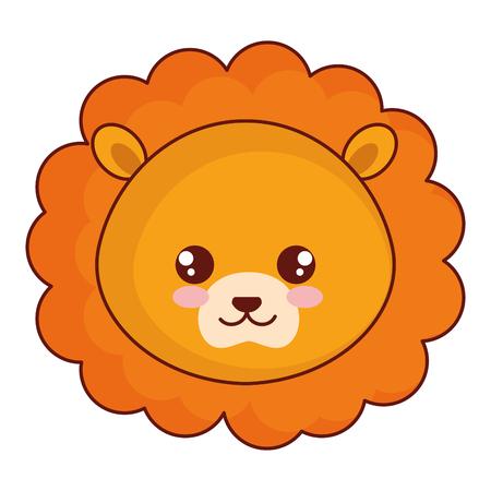 schattig en teder leeuw hoofd karakter vector illustratie ontwerp Stock Illustratie