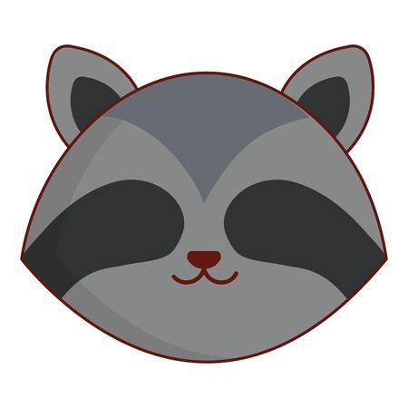 schattig en teder wasbeer hoofd karakter vector illustratie ontwerp Stock Illustratie