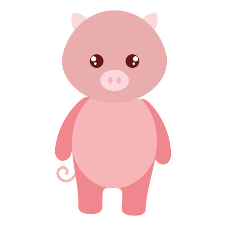 Cute and tender pig character vector illustration design.