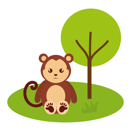 cute and tender monkey in the jungle character vector illustration design