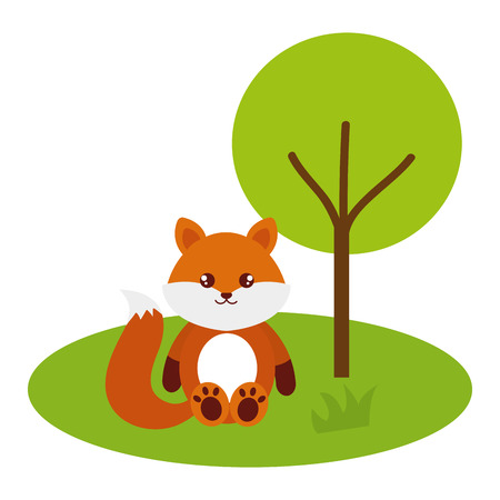 Cute and tender fox in the camp character vector illustration design Ilustração