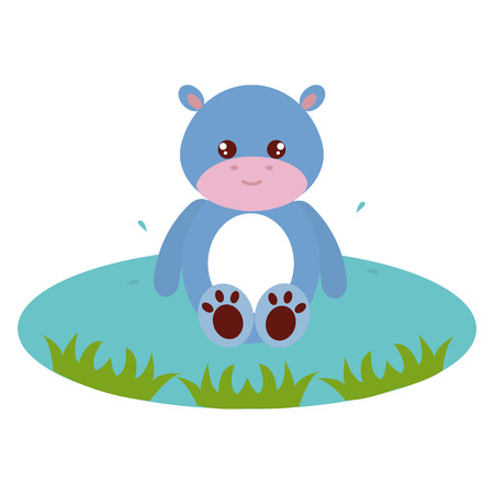 Cute and tender hippopotamus in the lake character vector illustration design Ilustração