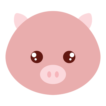 Cute and tender pig head character Illustration