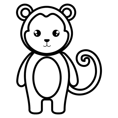 Cute and tender monkey character 向量圖像