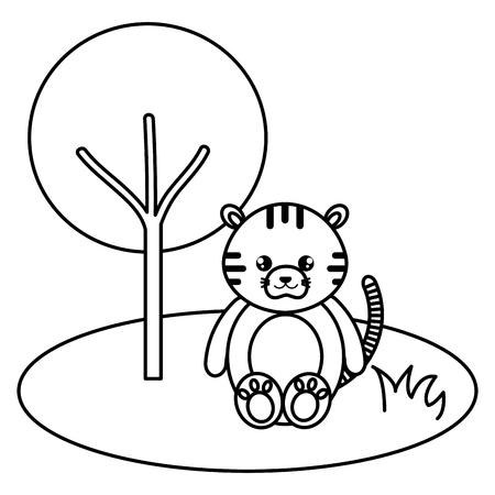 cute and tender tiger in the jungle character vector illustration design Foto de archivo - 94428957