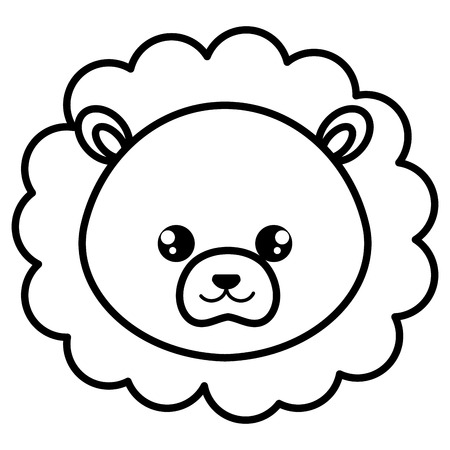 cute and tender lion head character vector illustration design