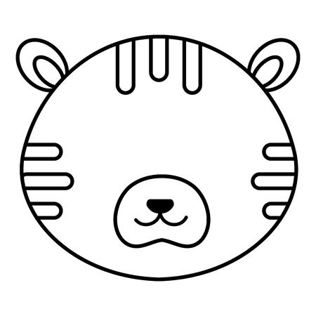 Cute and tender tiger head character vector illustration design Vektorové ilustrace