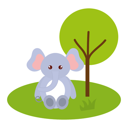 cute and tender elephant in the jungle character vector illustration design