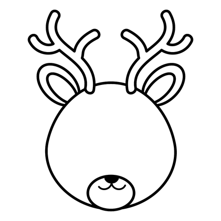 Cute and tender reindeer head character vector illustration design Vectores