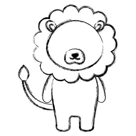 schattig en teder leeuw karakter vector illustratie ontwerp