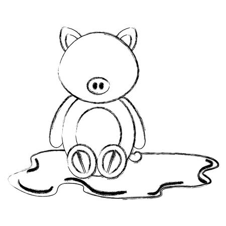 沼キャラクターベクトルイラストデザインで可愛くて柔らかい豚