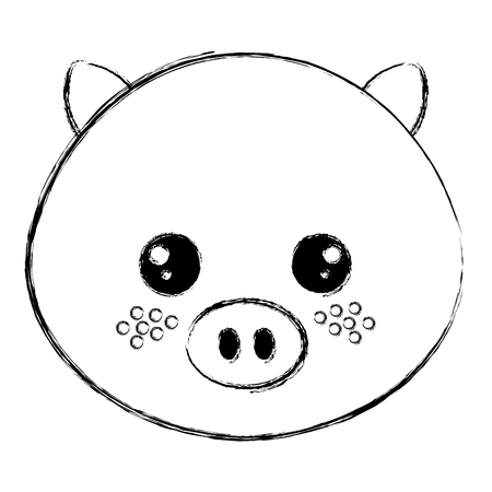 cute and tender pig head character vector illustration design Illustration
