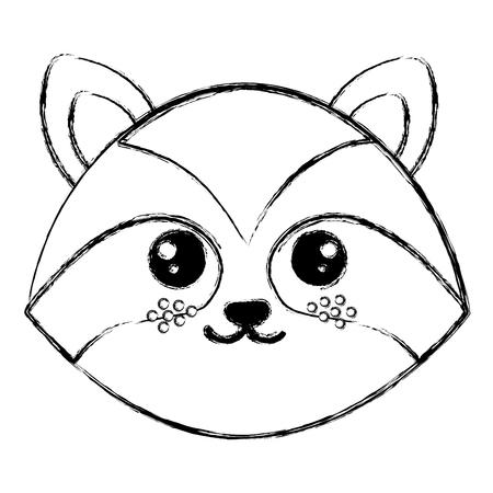 cute and tender raccoon head character vector illustration design