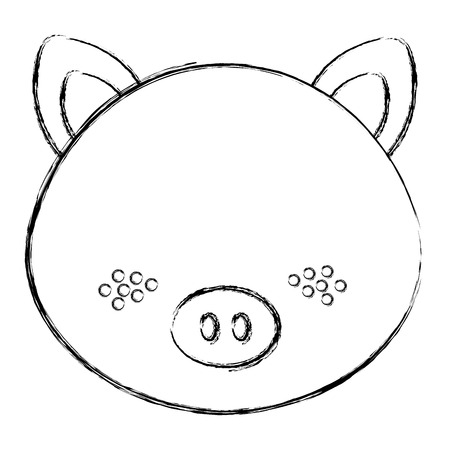 cute and tender pig head character vector illustration design 일러스트