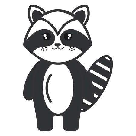 cute and tender raccoon character vector illustration design