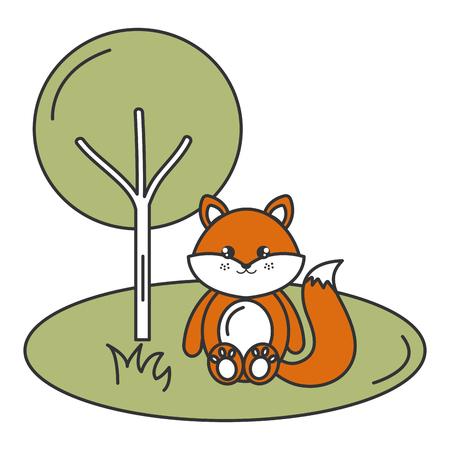 schattige en tedere vos in het kamp karakter vector illustratie ontwerp Stock Illustratie