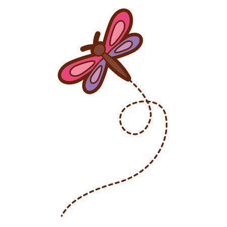 Cute flying dragonfly natural animal vector illustration Фото со стока - 94414634