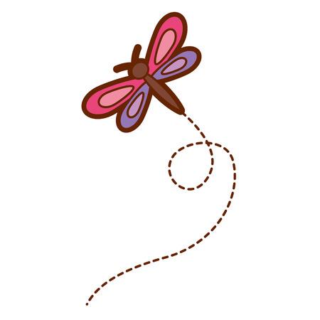Illustrazione animale naturale di vettore della libellula di volo sveglio Archivio Fotografico - 94414634