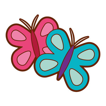 Cute butterflies spring animal vector illustration