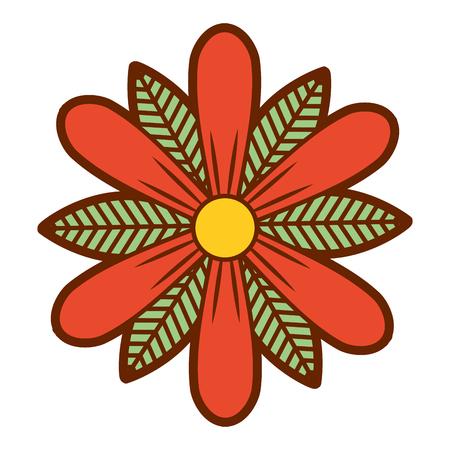 flower and leaves floral botanical natural spring image vector illustration Çizim