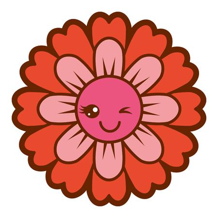 꽃 카와이 만화 귀여운 꽃잎 벡터 일러스트 레이션 일러스트