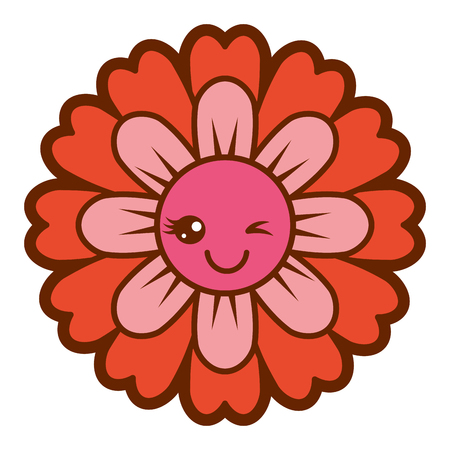 flower kawaii cartoon cute petals vector illustration