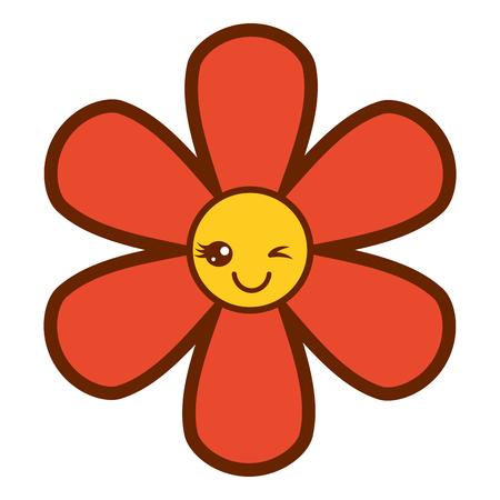 Orange flower cartoon botanical icon vector illustration