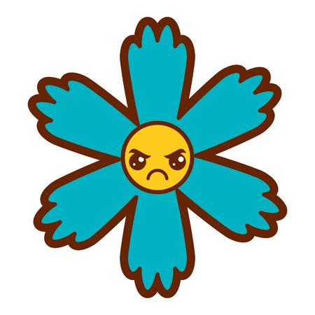 귀여운 푸른 꽃 카와이 만화 벡터 일러스트 레이션 스톡 콘텐츠 - 94432634