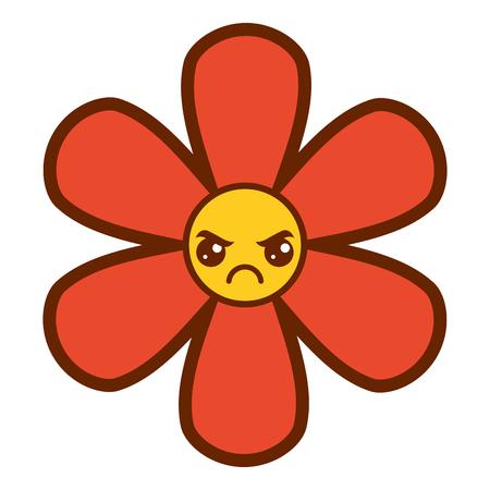 오렌지 꽃, 카와이 만화, 식물 아이콘, 벡터 일러스트 레이션 스톡 콘텐츠 - 94420467