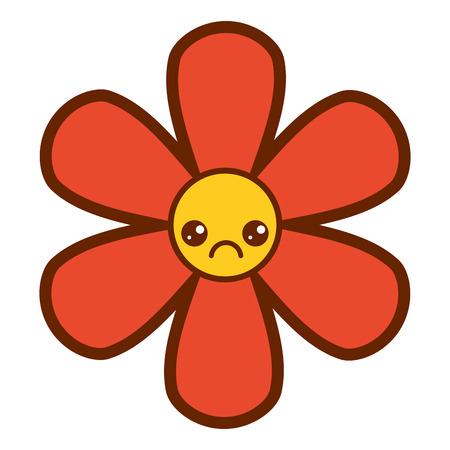 オレンジの花、可愛い漫画、植物アイコン、ベクトルイラスト