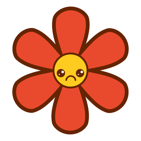Orange flower, kawaii cartoon, botanical icon, vector illustration
