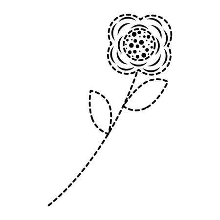 flower stem leaves nature petals decoration vector illustration sticker design