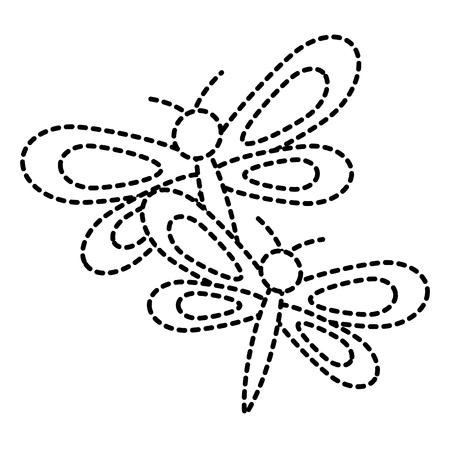 two dragonflies cute animal cartoon vector illustration  sticker design