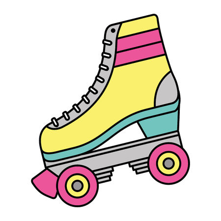 Classic roller skate laced wheels retro fashion vector illustration